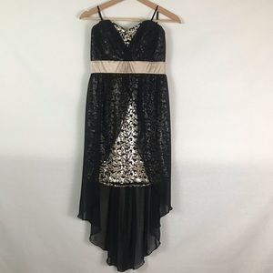 NWT Strapless Black & Gold Evening Sequined Dress